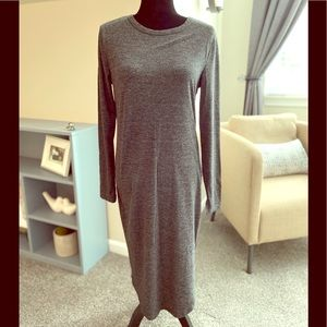 H&M Basics Gray Midi Dress Long Sleeved M